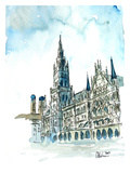 Munich City Hall Aquarell Prints by M Bleichner