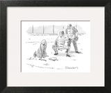 Dog at home plate with a leash in his mouth, waiting for pitcher to walk h… - New Yorker Cartoon Wall Art by Danny Shanahan