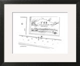 """A chicken sits at a bar called """"Ed's Roadside Lounge,"""" with a road in the … - New Yorker Cartoon Wall Art by Mick Stevens"""