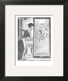 Man drowning in a shower stall motions to wife to open door. - New Yorker Cartoon Wall Art by Peter Arno
