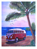 Surf Bus Under Palms At Dream Beach Spot Posters by M Bleichner