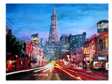 San Francisco Columbus St. With Cafe Vesuvio And Transamerica At Dawn Print by M Bleichner