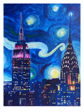 Starry Night In New York Print by M Bleichner