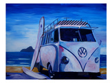 The Vw Volkswagen Bully Series - The White Bus Or Posters by M Bleichner