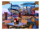 San Juan Cafe Terrace With Cruise Ships Art by M Bleichner