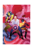 She-Hulk No. 9 Cover, Featuring: She-Hulk, Steve Rogers, Hellcat, Daredevil Print by Kevin Wada