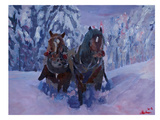The Winter Sled Horses 2 Prints by M Bleichner