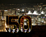 NFL Super Bowl 50 Sign and San Francisco Lights - NFL Super Bowl 50, Feb 7, 2016 Photo by Charlie Riedel