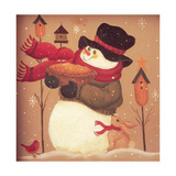 Snowman Holding a Basket Standing Near 3 Bird Houses with a Red Bird and a Bunny Giclee Print by Beverly Johnston