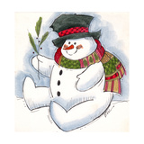 Snowman with Scarf Giclee Print by Beverly Johnston