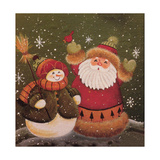 Snowman (Holding Broom) and Santa (Holding Red Bird) Giclee Print by Beverly Johnston