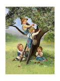 Kids Picking Apples Giclee Print by Dianne Dengel