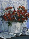 Vaso Bianco con Daliette Amaranto Giclee Print by Danka Weitzen