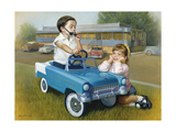 Little Boy in Toy Car with Girl Leaning on it Outside Old Fashioned Diner Giclee Print by David Lindsley