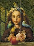 Girl with Parakeets Reproduction procédé giclée par Dan Craig