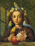 Girl with Parakeets Giclee Print by Dan Craig