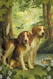 Beagles and Duck Giclee Print by Dan Craig