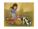 Girl with Puppy Giclee Print by David Lindsley
