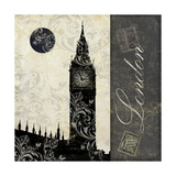 Moon over London Giclee Print by Color Bakery