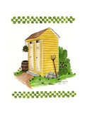 Yellow Double Outhouse Giclee Print by Debbie McMaster