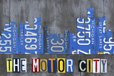 Detroit City Skyline License Plate Art Giclee Print by Design Turnpike