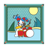 Coalman the Snowman Drums 1 Giclee Print by Denny Driver