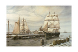 Drying Sails - New Bedford Giclee Print by Jack Wemp