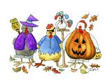 Halloween Hens Giclee Print by Jennifer Zsolt