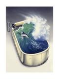 Dolphin in Wave Impression giclée par Harro Maass