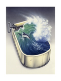 Dolphin in Wave Giclée-tryk af Harro Maass