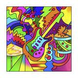 Pop Art Guitar Drum Giclee Print by Howie Green