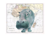 African Hippo Giclee Print by Jane Wilson