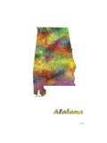 Alabama State Map 1 Giclee Print by Marlene Watson