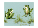 April Showers - Frogs with Grass Giclee Print by Peggy Harris