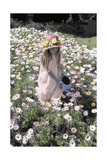 Young Girl in a Field of Flowers Watering Them Giclee Print by Nora Hernandez