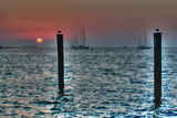 Key West Sunset Two Pilings Photographic Print by Robert Goldwitz