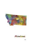 Montana State Map 1 Giclee Print by Marlene Watson