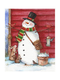 Red Barn Snowman with Friends Giclee Print by Melinda Hipsher