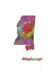 Mississippi State Map 1 Giclee Print by Marlene Watson