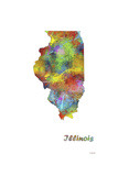Illinois State Map 1 Giclee Print by Marlene Watson