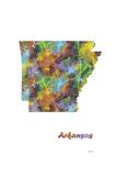 Arkansas State Map 1 Giclee Print by Marlene Watson