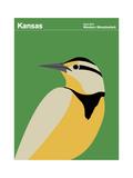 State Poster KS Kansas Reproduction procédé giclée