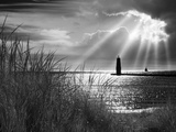 Frankfort Lighthouse and Sunbeams, Frankfort, Michigan '13 Photographic Print by Monte Nagler