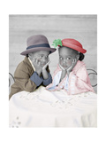 Boy and Girl Sitting at Table with Head in Hands Giclee Print by Nora Hernandez