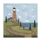 Red and White Lighthouse Giclee Print by Robin Betterley