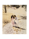 Two Girls on Path Giclee Print by Nora Hernandez