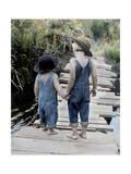 Two Boys Walking on Bridge Hand-In-Hand Giclee Print by Nora Hernandez