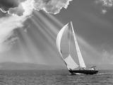 Sailing under sunbeams, L'Anse Bay, Michigan '13 Photographic Print by Monte Nagler