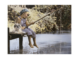 Boy and His Dog Fishing Off Dock Giclee Print by Nora Hernandez