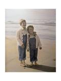 Two Boys on Beach Giclee Print by Nora Hernandez